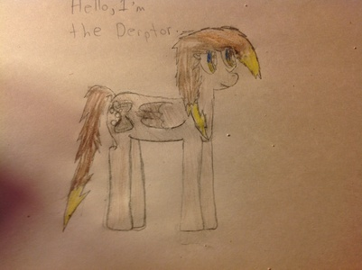 Name: Derptor Gender:Female Cutie Mark:Hourglass and Bubbles Hobby:She travels time and মহাকাশ currently without an assistant.She makes sure that she makes sure The Doctor and Derpy are always together,cause আপনি never no what will happen to আপনি with the wrong assistant..... Fact:She hides her horn in fear that in her travels her secret may cause something bad. Picture!: