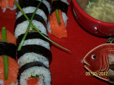 "[b]SUSHI!!![/b] ""REAL"" & fresh sushi. My FAV: maki sake (w/nori - the dried seaweed, I pag-ibig <3333 seaweed, & with the gari: the sushi ginger root, soju/soy sauce, & WASABI paste! YUM), sake nigiri, sashimi sake!! I also like noodles & dumplings (& dim sum) - many and I pag-ibig alimasag legs <333333 w/melted butter!!"