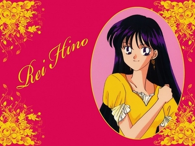 Rei hino from sailor moon!! Her hair i love, black with purple highlights :D