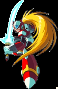 Like Zero from Megaman. (though I'm aware he's not an anime character, just in a similar style)