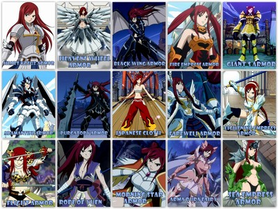 Erza from Fairy Tail is an equip wizard so she can switch through multiple weapons and different types of armor . Some weapons she has used are dual katana's , a sword , spear , chef knives , double-handed blade , lance , kanyon , Trident , axe , hammer , and basic fists .