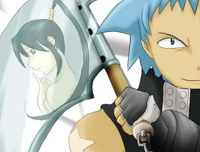 Well, I wouldn't exactly call him a weapon master (he's got a long ways to go), but Black bituin does have the multiple weapon kind thing going for him. Tsubaki! pinagmulan of tagahanga art: http://hand-made-city.deviantart.com/art/Black-Star-and-Tsubaki-124285340