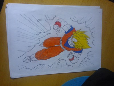 I did some coloring's of Goku, Vegeta and Gohan. Here is one I did of SSJ goku I accidentally did his wristbands red instead of Blue! XD