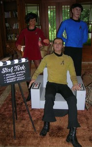 we will be selling two life size wax figures of captain kirk in his chair, spock,uhora . At silent auction wed 31st - aug 2nd. In Albany new york please call for details 518-669-2274