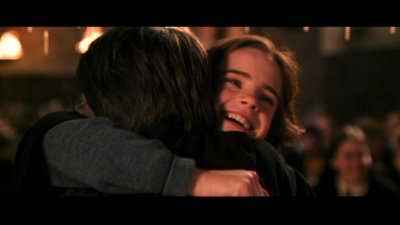 Mine is the ending scene when Ron and Harry  saw Hermione and the run into each other and hug! :)