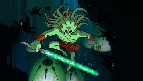 Kit Fisto. He's awesome and his lightsaber works underwater. Yup. That's him fighting in the mon calamari battle