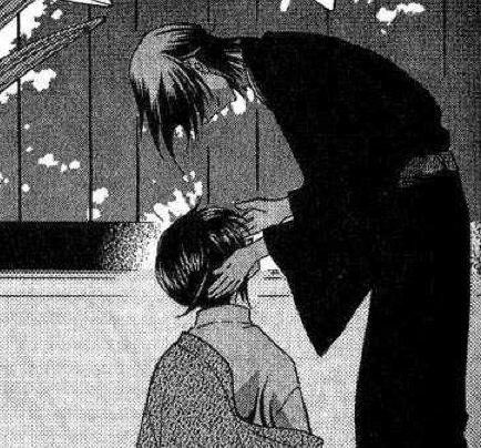 Couldn't find much of a better picture than this from the manga...Shigure and Akito from Fruits Basket, both have black hair.