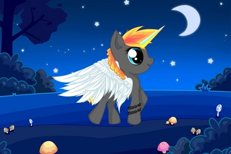 Name: Nightwing Gender: Male Cutie mark: none One অথবা two hobbies: likes to fly at night and stalk ponies of interest to him Brief personality: shy, quiet, courageous, watchful, strong, a prince of Alitopia One special fact: never will have a cutie mark even though he is as old as celestia