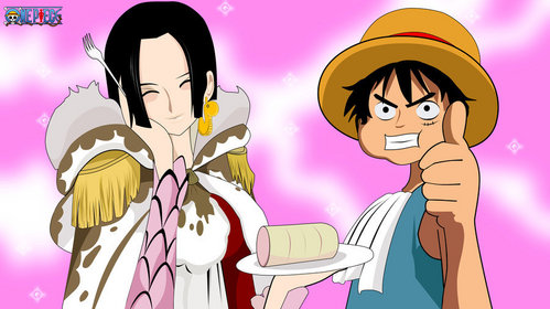 Monkey.D.Luffy (One Piece) dnt get me wrong..luffy did not like an girls he only Cinta being a pirate king..this is boa hancock's sweet dream........he he he he