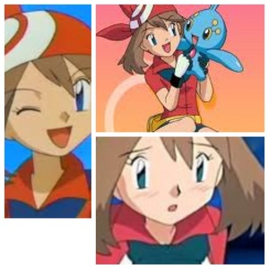 May from Pokemon. In the top, boven right part of the picture she is holding Manaphy, a Pokemon she has in one of the movies.