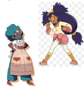 Gym leaders Aloe and Iris from Pokémon.
