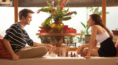 my handsome Robert,with the lovely Kristen Stewart,playing a game of chess in a scene from BD part 1<3