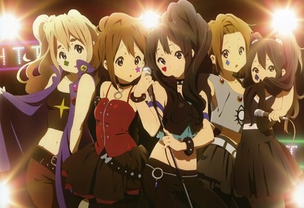 My current desktop background is K-ON! Tsumugi, Yui, Mio, Ritsu, and Azusa in their 'Death Devil' costumes.