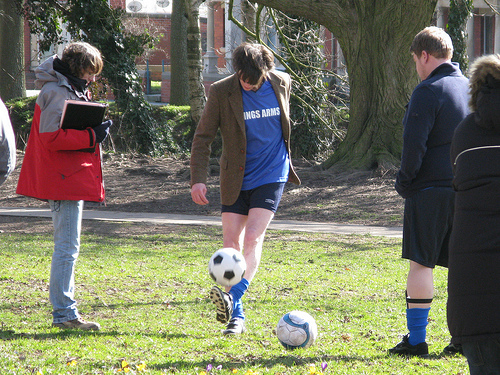 Matt Smith playing football!