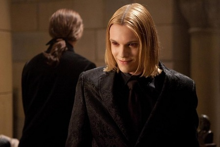 Jamie Campbell Bower as Caius in BD 2 with an evil smile on his face
