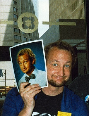 A picture of him holding a picture of him. Confused?