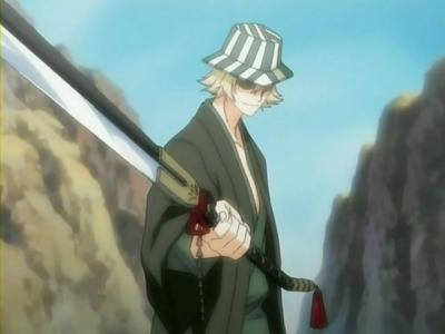 Kisuke Urahara (Bleach) weilding his deadly sword.........benihime.............he he eh e