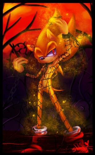 A picture of Super Sonic wrapped in vines (at least I think they're vines). And no I don't use the same Icon for different sites. Like for example, my YT Icon is a picture of Sonic. My dA Icon is a picture of Amy