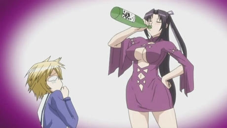 Kazehana from Sekirei always carries a bottle of sake with her even into battle .