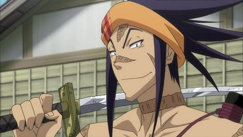Shungiku Koikawa tends to spew alcohol onto his blade before going into battle. (couldn't find a pic) From Mushibugyo.
