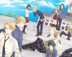Some of the Hetalia characters wearing school uniforms . Yay for Gakuen Hetalia XD