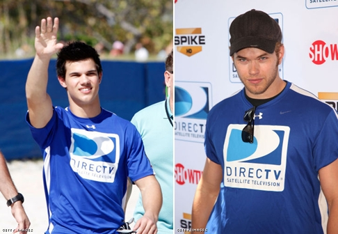 Twilight hotties Kellan Lutz and Taylor Lautner both taking part in the DirectTv Celebrity Bowl<3