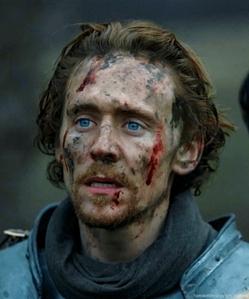 Tom Hiddleston with blood