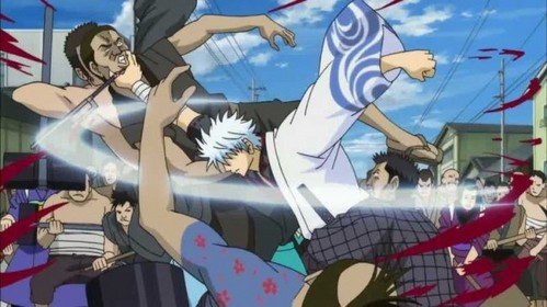 Gintoki taking down a mob