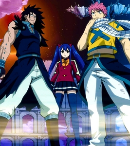 The Dragon Slayers from Fairy Tail are elemental based . From left to right : Gajeel * Iron * , Wendy * Air * , and Natsu * 火災, 火 * Other Dragon Slayers : Laxus * Lightning * , Sting * Light * , Rouge * Dark * , and コブラ * Poison *
