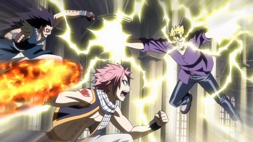 Gajeel and Natsu fighting Laxus in Fairy Tail .