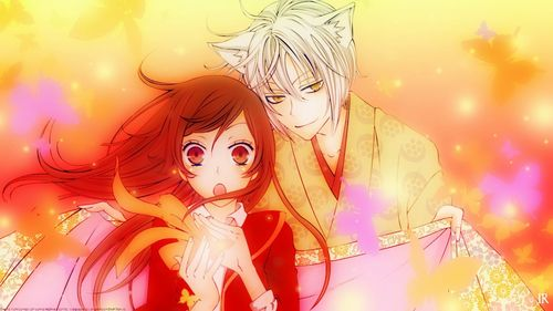 Kamisama Hajimemashita (the picture) is a good Anime with people with ears and weird spirits and stuff (Only in Subbed) Also I highly suggest Fruits Basket , it has animali people in it so you'll like it (Dubbed and Subbed) Also sorry the series aren't that long, but both the mangas are awesome and long :)
