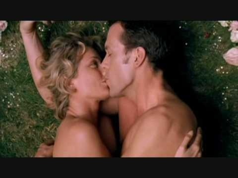 """Hugh Laurie kissing Joely Richardson in the movie """"Maybe Baby"""""""