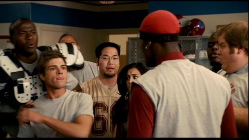 Matthew was shoved kwa Jackie Long ( wearing a red cap).