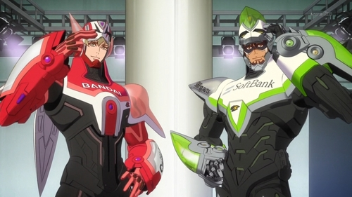 Since their super powers only last for a limited amount of time, Tiger and Bunny rely on their power suits for most of their crime fighting activities.