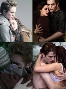 my handsome baby and Kristen Stewart as Edward&Bella hugging<3