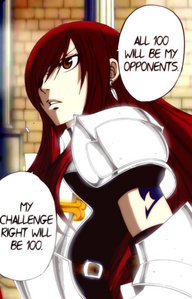 The first thing I thought of was Erza (Fairy Tail) challenging 100 mosters in the Grand Magic Games (pandemonium) ^-^