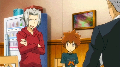 Gokudera and Tsuna - Reborn! He tried to kill Tsuna to become the 10th boss of the Vongola, but then he was saved da Tsuna during their fight when he dropped all of his bombs and couldn't escape.