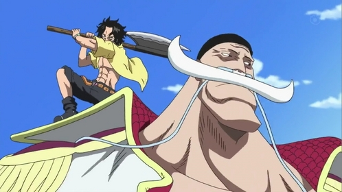 Ace & Whitebeard (One Piece) Ace tried to kill whitebeard several times but seeing whitebeards parently Amore he started calling him father ....even though whitebeard is not ace's real father...........he he he heh