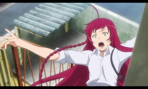 Emi Yusa from Hataraku Maou-sama! falling down the stairs