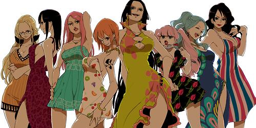 one piece girls kalifa, robin, jewellery bonney, nami, hancock, perona, vivi, alvida........he he he he