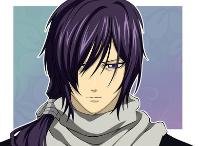 Saito Hajime of 하쿠오키 is shown with purple (Sometimes black) hair but no moles on this beautiful face.