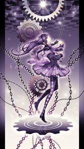 homura akemi from puella magi madoka magika with purple-black hair.