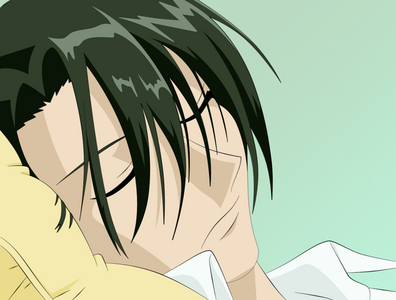 Hatori Sohma from Fruits Basket. His eye (left) was injured because the head of the family threw a vase at him for requesting to get married. He can't see through his eye so he hides it. Oh, and he's sexy. No relevance to his eye, he just is ;) <3