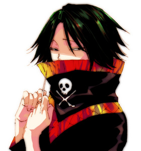 His hoodie thing always covers the bottom half of his face (from Hunter x Hunter).