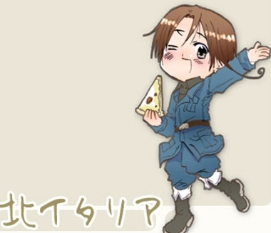 All righty here is Italy (North Italy that is!) from Hetalia with Pizza!-but technically he's holding it..still hope it counts!
