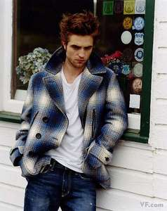 my gorgeous Robert wearing a jacket<3