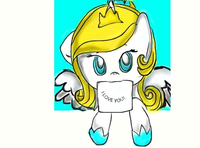 her name is Diamond Kryztal.She is like fluttershy's mood she is actually a hybrid of a unicorn and a pegasus and she has a dead sister who is going to protect her.She actually have a cutie mark that looks like a 4 leaves flower(not a clover) with a diamond on the center and a shield behind the blume :)