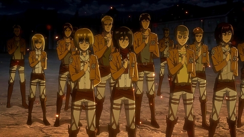 """The Scouting Legion!~ (Attack on Titan) Mikasa down there in the red scarf is a part of the new recruits. """"I like the looks on your faces""""-Erwin Smith"""