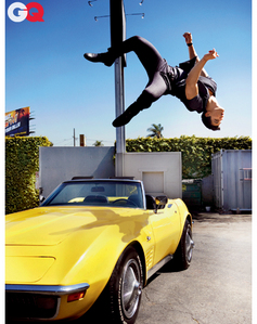 Twilight hottie Taylor Lautner doing a backflip over a car<3