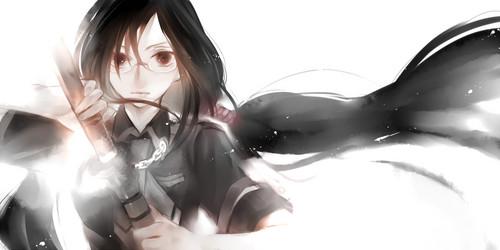 Saya from Blood-C uses a sword....she kinda like a Samuri i guess..... That Counts :3